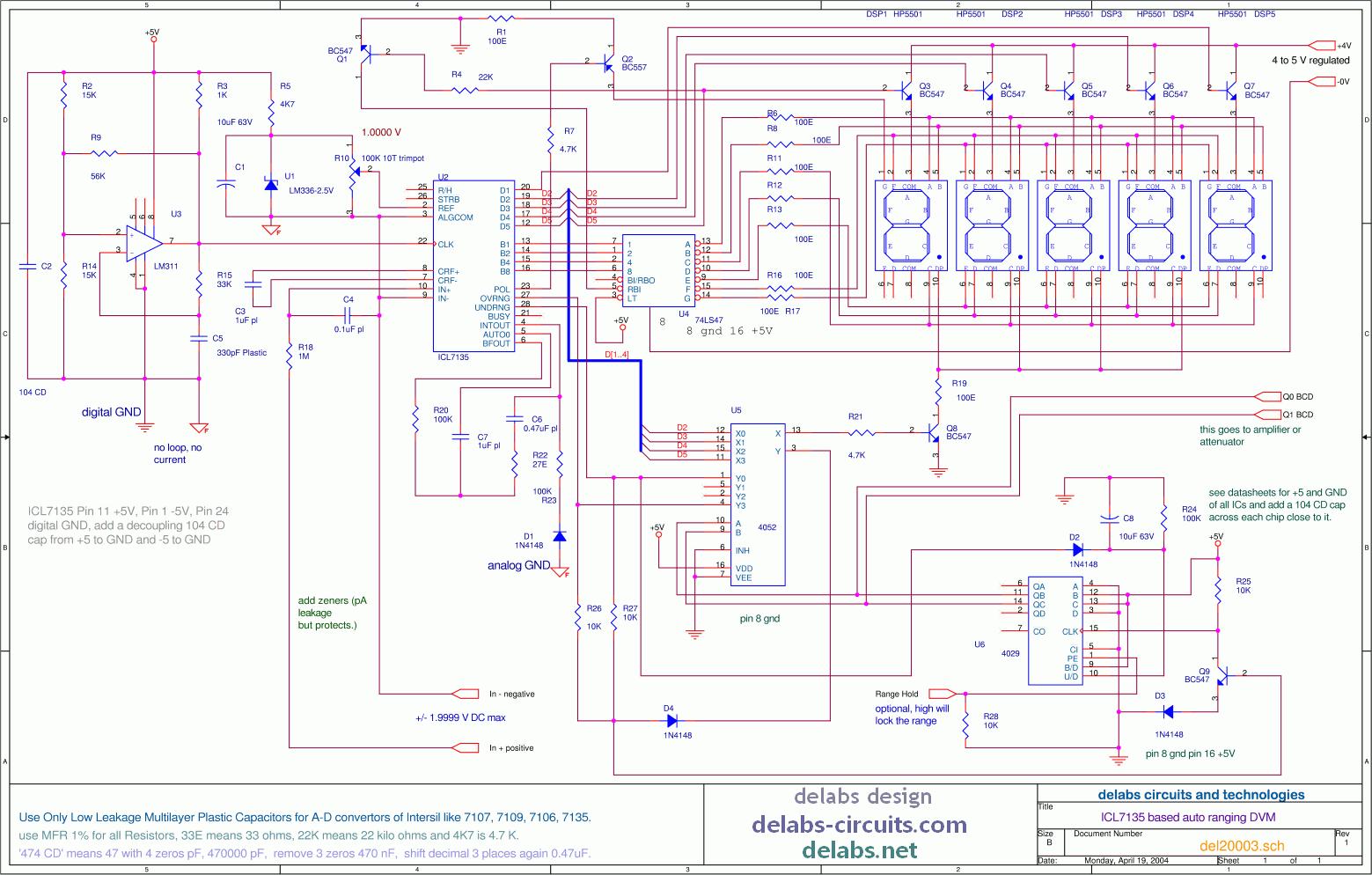 Analog Control Circuit Wiring Diagram Master Blogs Electronic Circuitscom Mixed Circuits Delabs Schematics Auto Ranging 4 1 2 Digit Digital Voltmeter Pid Motor