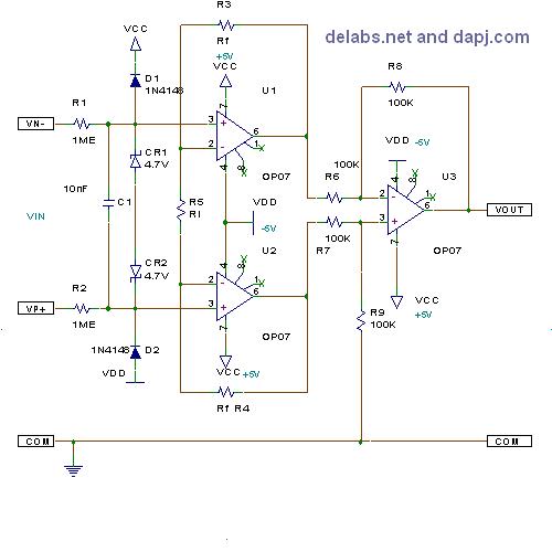 3 Op-Amp Differential Instrumentation Amp