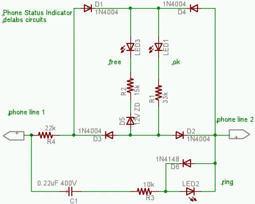 Telephone LED status indicator