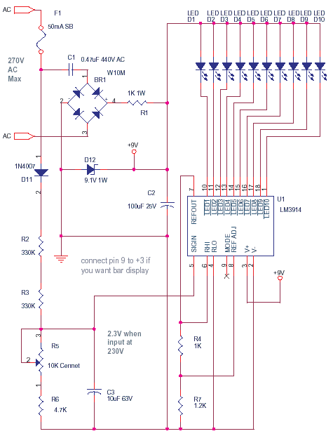 schematics of delabs mains voltage monitor using lm3914. Black Bedroom Furniture Sets. Home Design Ideas