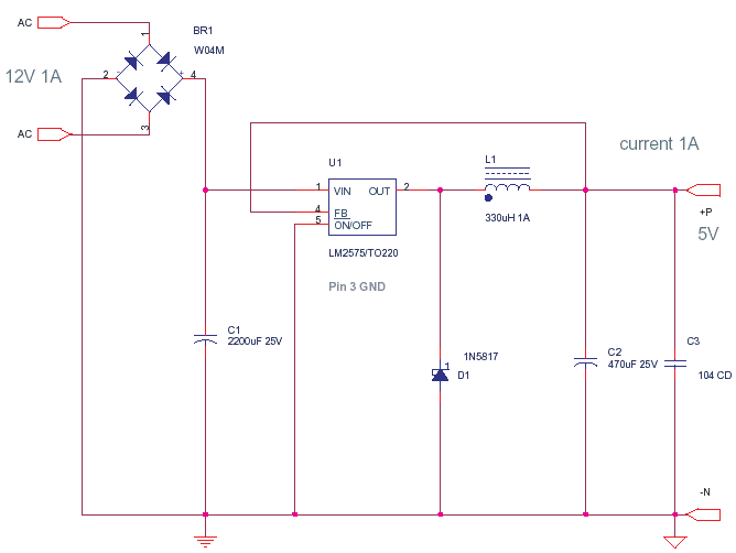 5V -1A Power Supply using LM2575