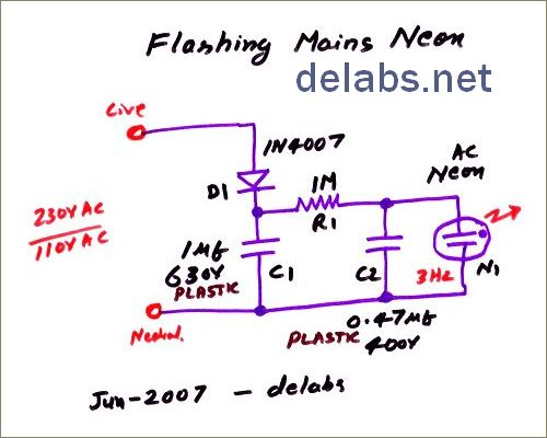 Flashing Mains Neon Lamp