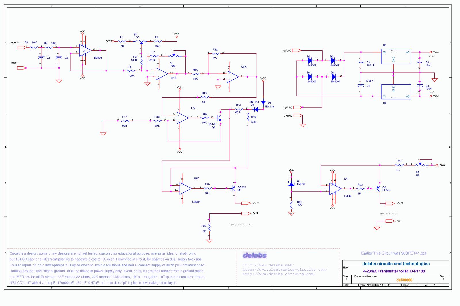 Pt100 4 20ma Wiring Solutions Rtd Current Loop Transmitter Using Xtr105 Mini Three Wire Delabs Schematics