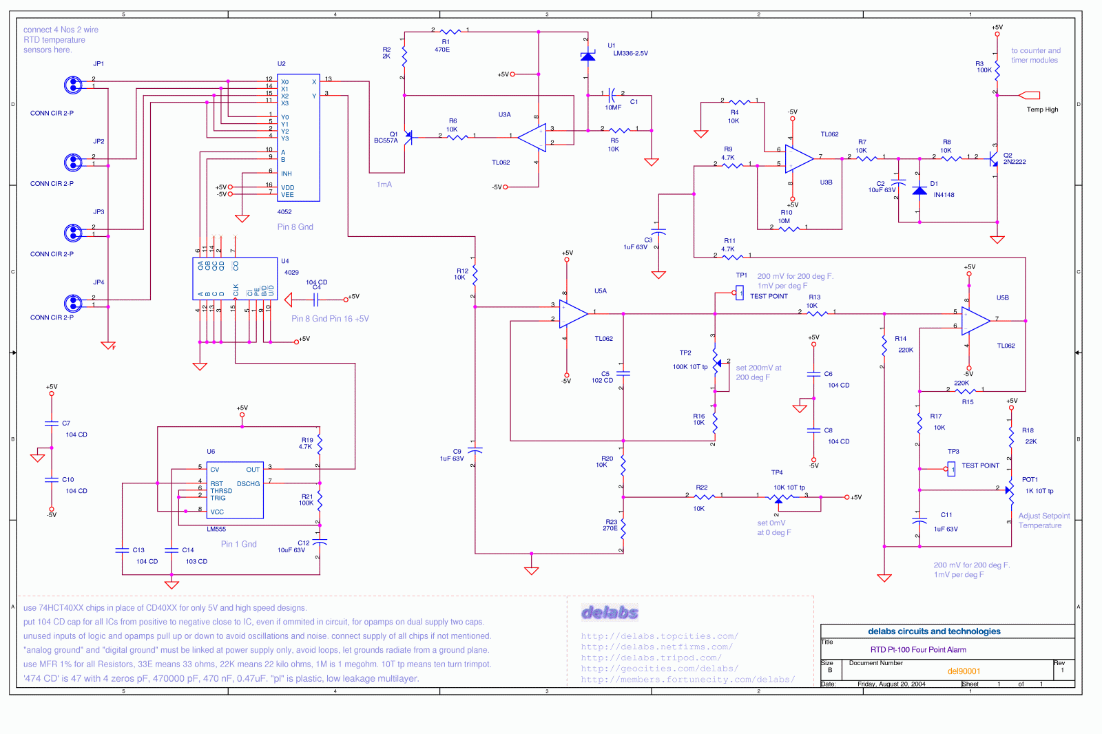 Analog Page 2 Delabs Schematics Electronic Circuits Basic Triacscr Projects Tutorial Rtd Pt 100 Four Point Alarm