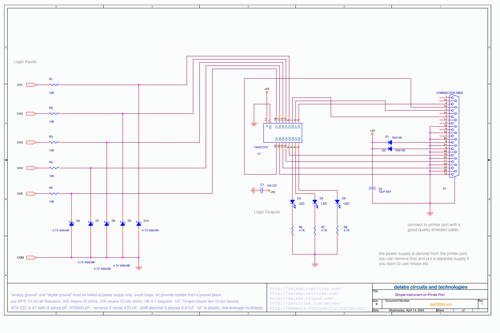 Tag Computer Interface Delabs Schematics Electronic Circuits Basic Triacscr Projects Tutorial Simple Printer Port