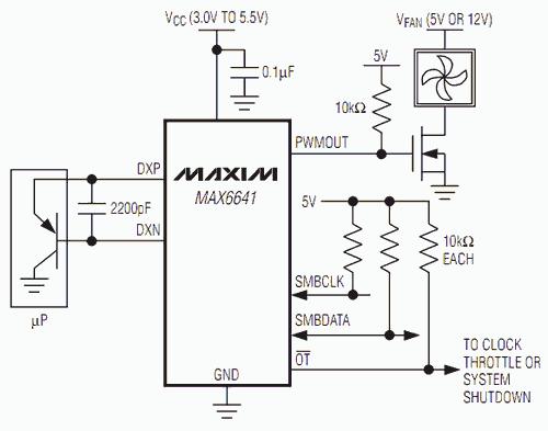 MAX6641 temperature sensor and fan controller